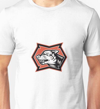 Angry Wolf Wild Dog Retro Unisex T-Shirt