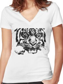 Tiger, big cat, hunter and predator Women's Fitted V-Neck T-Shirt