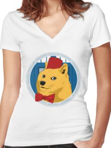 Wow Such Timelord! Women's Fitted V-Neck T-Shirt
