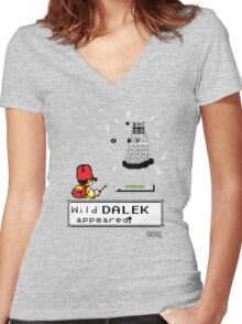 Doctormon - A wild DALEK appeared! Women's Fitted V-Neck T-Shirt
