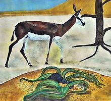 Springbok at Dead Tree Vlei Namibia. By Jane Flowers by janeflowersart