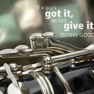 Clarinet image with Benny Goodman quote by exvista