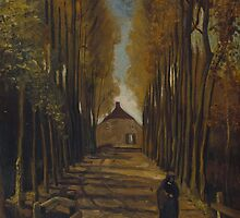 Vincent Van Gogh - Avenue of poplars in autumn, 1884 by famousartworks