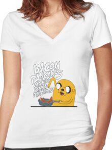 Bacon pancake Women's Fitted V-Neck T-Shirt