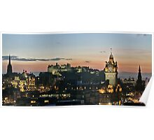 Balmoral Clocktower and Edinburgh Castle at Dusk Poster