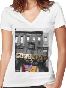 Radio Raheem - Love & Hate  Women's Fitted V-Neck T-Shirt