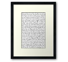Pride and Prejudice text Framed Print