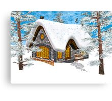 Winter Cottage Canvas Print