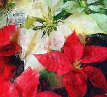 Mixed Color Poinsettias 2 Sketchy by Christopher Johnson