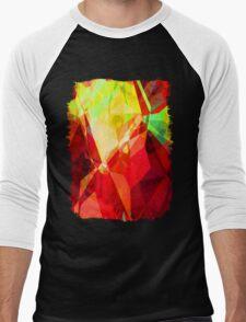 Mixed Color Poinsettias 2 Abstract Polygons 1 Men's Baseball ¾ T-Shirt