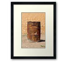 Open rusty iron barrel Framed Print