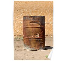 Open rusty iron barrel Poster