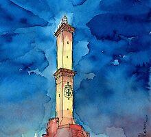 La Lanterna di Genova all'imbrunire by Luca Massone  disegni