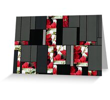 Mixed Color Poinsettias 2 Art Rectangles 7 Greeting Card