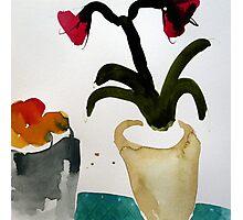 Amaryllis beside fruit bowl, watercolour Photographic Print