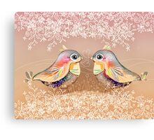 Exotic Peach Lovebirds Canvas Print