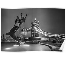 Tower Bridge and Dolphin - mono Poster