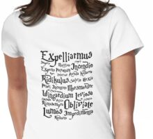 Harry Potter Magic Spells quote Womens Fitted T-Shirt