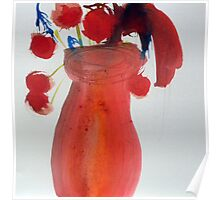 Red vase, watercolour Poster