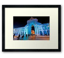 Blue plaza. Arco da Rua Augusta em azul Framed Print