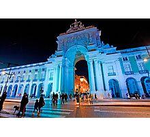 Blue plaza. Arco da Rua Augusta em azul Photographic Print