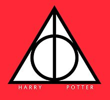 Harry Potter Deathly Hallows Triangle Red by Sarah Champ