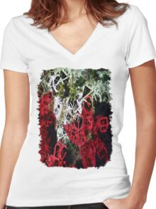 Mixed Color Poinsettias 2 Letters 4 Women's Fitted V-Neck T-Shirt
