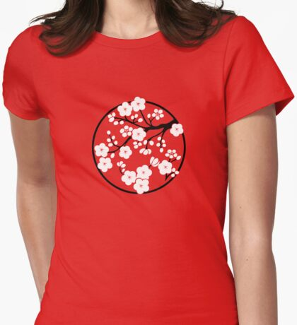 Plum Blossoms - White Womens Fitted T-Shirt