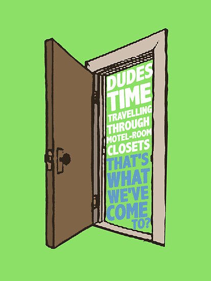Dudes time traveling through motel-room closets by nimbusnought