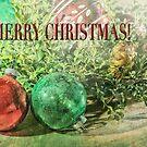 Merry Christmas Card Still Life Vintage Christmas Ornaments by Mariannne Campolongo