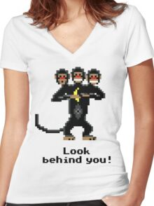 Three-Headed Monkey Women's Fitted V-Neck T-Shirt
