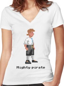 Mighty Pirate Women's Fitted V-Neck T-Shirt