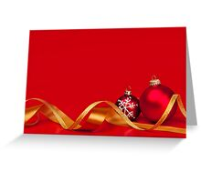 Red Christmas background with ornaments Greeting Card