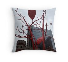 Sculpture Metal Leaves Throw Pillow
