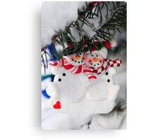 Snowmen Christmas ornament Canvas Print