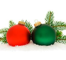 Red and green Christmas baubles by Elena Elisseeva