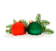 Red and green Christmas baubles Photographic Print