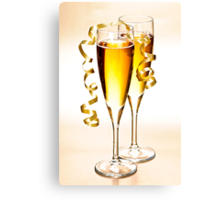 Champagne glasses at New Years Canvas Print
