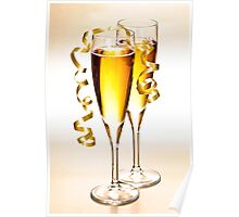 Champagne glasses at New Years Poster