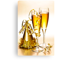 Champagne and New Years party decorations Canvas Print