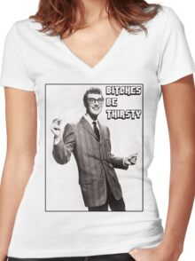 Buddy's view on Bitches Women's Fitted V-Neck T-Shirt