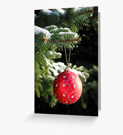 Red Christmas ball on fir tree Greeting Card