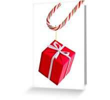 Candy cane and present Greeting Card