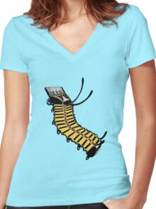 accaterpillion accordion + caterpillar! Women's Fitted V-Neck T-Shirt
