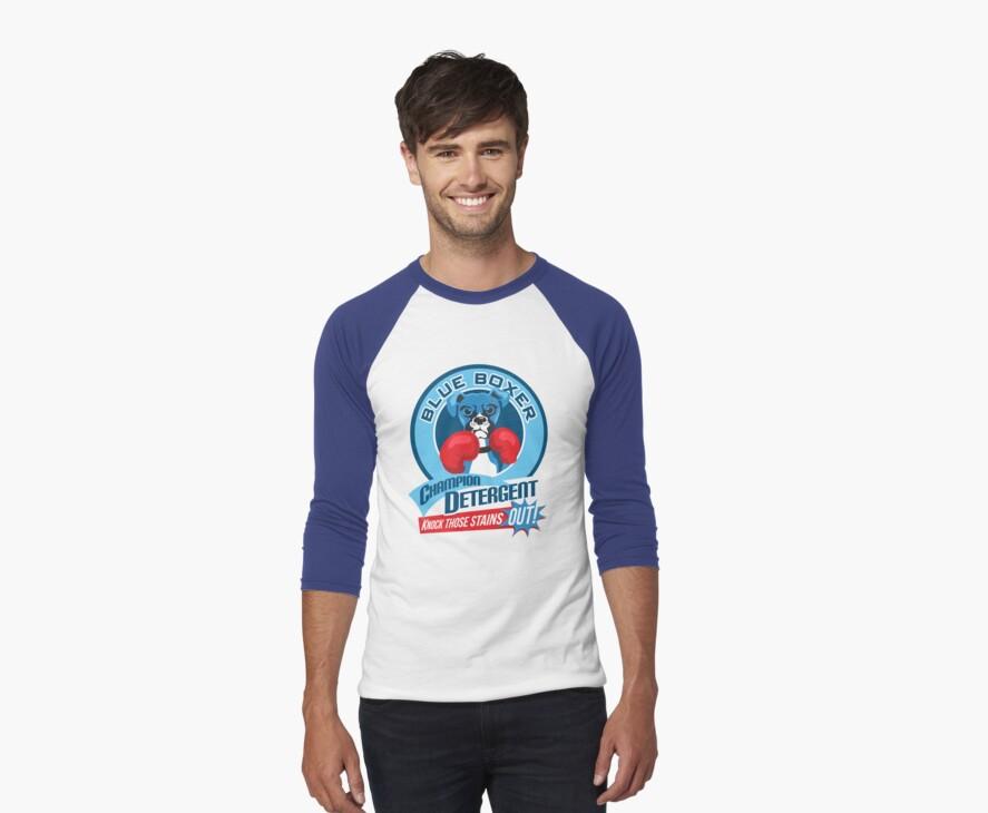 Blue Boxer Champion Detergent Retro T-shirt- original art by DKMurphy