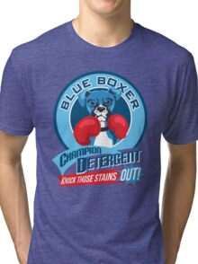 Blue Boxer Champion Detergent Retro T-shirt- original art Tri-blend T-Shirt