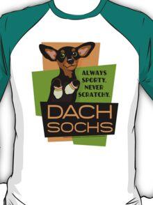 Happy Dachshund in Socks Retro T-shirt- original art T-Shirt