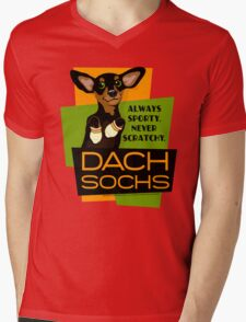 Happy Dachshund in Socks Retro T-shirt- original art Mens V-Neck T-Shirt