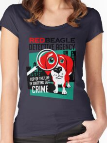 Red Beagle Detective Agency Retro T-shirt- original art Women's Fitted Scoop T-Shirt