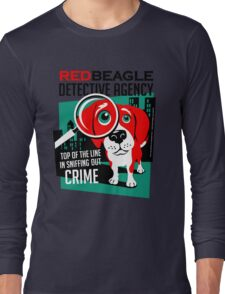 Red Beagle Detective Agency Retro T-shirt- original art Long Sleeve T-Shirt